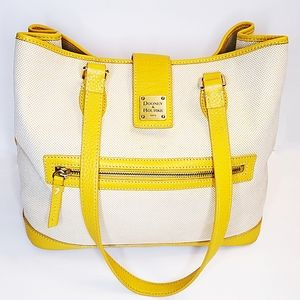 Dooney & Bourke Yellow Leather Trim Shoulder Bag